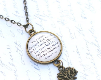 """Robert Frost quote necklace, """"Two roads diverged in a wood, and I - I took the road less traveled"""" literary pendant, poetry, tree charm"""