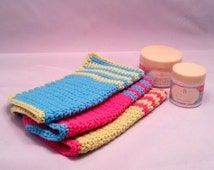 Handmade Crocheted Washcloth Set Made from 100 Percent Cotton, Cotton Wash Cloth Set in Pink, Blue & Lime Green, Makes a Great Baby Gift