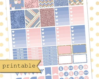 Rose Quartz & Serenity Printable Planner Stickers for use with Erin Condren Life Planner/Weekly Planner Sticker Kit/Instant Download