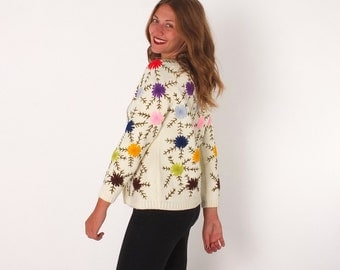 1960s Vintage All over Embroidered Floral Knit Cardigan Granny Kitsch M L