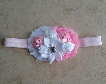 baby pink headband, pink headband, white headband, pink and white headband, light pink headband, baby headband
