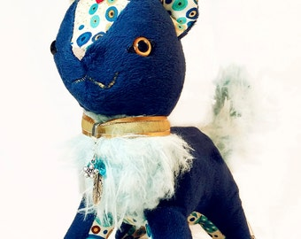 KlimtCat - Cute Art Themed Plushie - Original Handmade Cat Plush - Blue GemCat (made to order)