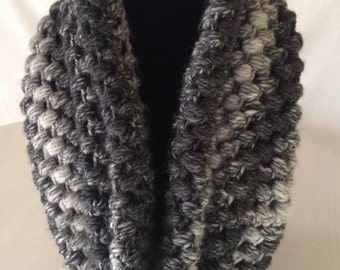 Crochet Cowl in Gray Ombre