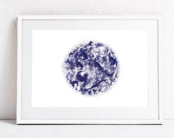Indingo Blue Wall Art Print-Circle Art,Blue Abstract Art-Printable Art-Abstract Circle,Zen Art-Instant Download Art-Blue Art Print-24x36