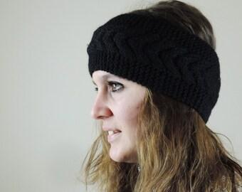 Black Knit Headband, Cable Knit Headband, Ear Warmer, Winter Hairband, Black Knitted Headband, Chunky Headband
