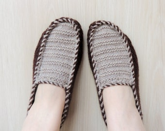 Mens Knitted Slippers in Brown Beige, Mens House Shoes, Unisexs Knitted Slippers, Womens Slippers, Womens Shoes