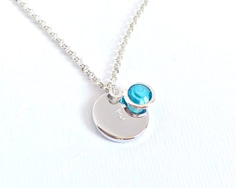Initial necklace, birthstone necklace, disc necklace, engraved necklace, birthstone, personalized disc necklace, silver necklace,