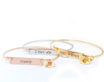 Personalized bar bangle bracelet, bangle bracelet, handstamped bracelet, personalized bangle bracelet, silver bangle, gold bangle