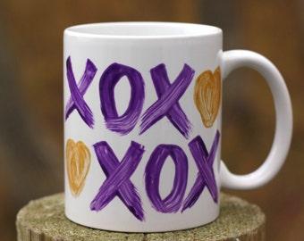 Xoxo Coffee Mug- Handpainted Mug- Valentines Day Mug- Unique Coffee Mug- Coffee Lover Gift- Unique Coffee Mug- Mug Gift For Her