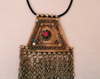 Necklace pendant TURKMEN old stones and glass