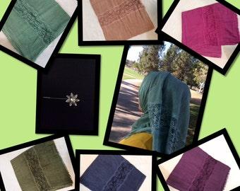 Cotton Hijab Lace Scarve