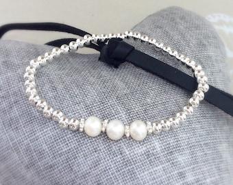 Freshwater Pearl bracelet,  bridal jewellery, Bride pearl bracelet, freshwater pearls, bridesmaid bracelet,
