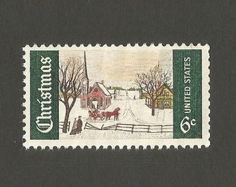10 Christmas Vintage Postage Stamps, 6 Cents, Unused # 1364