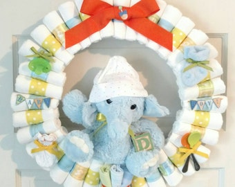 Diaper Wreath, baby diaper wreath, elephant diaper wreath, shower gift