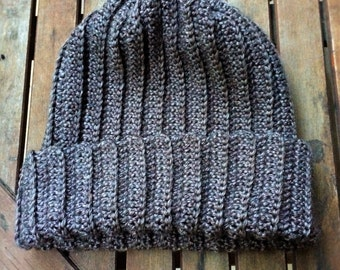 Crochet Ribbed Winter Beanie Hat