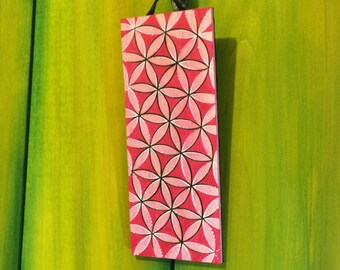 Flower of Life wall decor, Wood-burned hand-painted