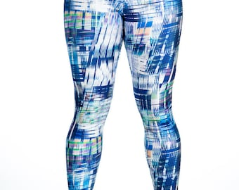Fusion -Blue/White Print Spandex Leggings