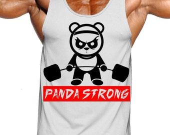 panda strong,panda,mens workout tank top,mens fitness tank top,mens weightlifting tank top,exercise tank top,muscle tank top,funny tank top