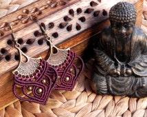 Macrame earrings, tribal earrings, bohemian jewelry, tribal jewelry, hippie accesories, boho chic, festival jewelry, gypsy style,