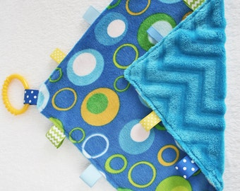 Taggie Blanket, Tag Blanket, Baby Boy Tag Blanket, Lovey, Sensory Development, Ribbon Blanket, Baby Taggie Blanket,Blue Green Yellow Blanket