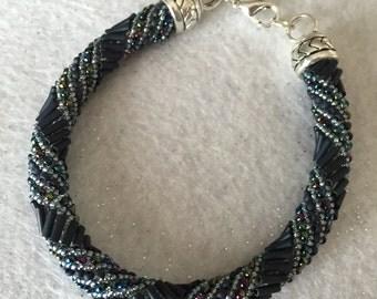 Russian Spiral Beaded Bangle Bracelet