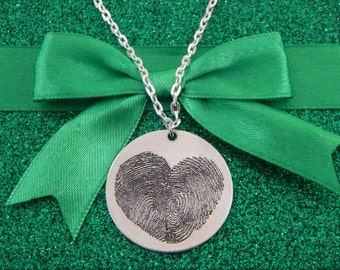 Custom Personalized Fingerprint Heart Pendant Necklace, Valentine's Gift, Great Birthday Gift, Memorial Jewelry