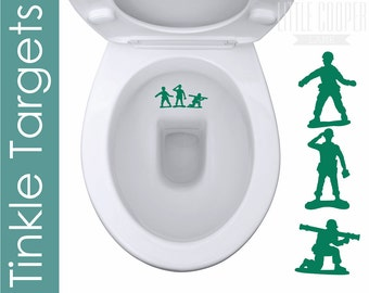 TINKLE TARGETS Vinyl Decal Stickers | 3 x Toy Soldier Silhouettes Toilet Potty Training Stickers | For Boys_ID#1418