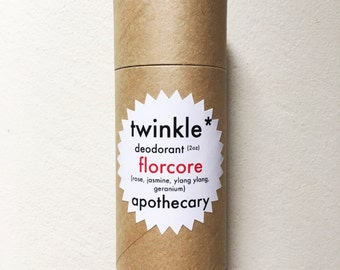 Natural vegan deodorant | FLORCORE FRAGRANCE | rose jasmine ylang ylang geranium | eco friendly roll on stick deodorant | Twinkle Apothecary