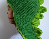 Crochet dinosaur dragon green beanie slouchy hat or beret for kids, wool funny animal soft hat to impress, beanie for children MADE TO ORDER
