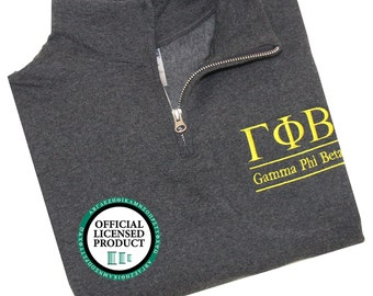 Gamma Phi Beta Quarter Zip Pullover, Gamma Phi Beta Letters Cadet Jacket, Greek Apparel, Sorority Letters, Gamma Phi Quarter Zip Pullover