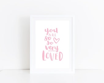 So Loved Print Pink Nursery Art Love Quote Daughter Gift Girls Room Decor Baby Girl Nursery Print Pink Nursery Wall Art Baby Girl Gift