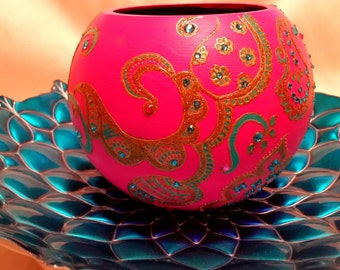 Henna/Mendhi inspired Hot Pink,Glass Vase, Hand-Painted
