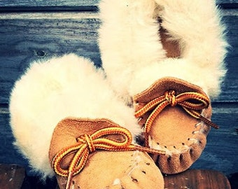 Genuine Sheepskin, Native Made, Baby/Children's Slippers