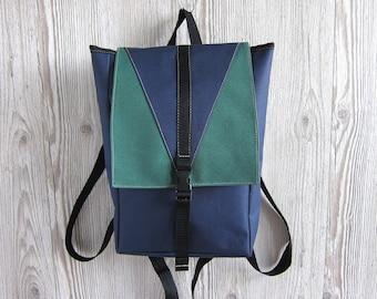 Mini Backpack, Small Backpack, Navy Green, Women's Backpack, Rucksack, Water Resistant Waterproof Backpack, Vegan Backpack