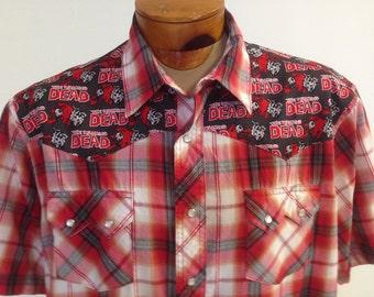 The Walking Dead Men's Shirt By Maria B. Vintage Western Shirt & Walking Dead Fabric. Size XXL.