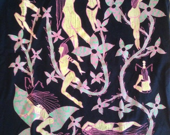 Nudes Tee Shirt- Art Deco Tee Shirt- Plants Tee- Artists Tee- Woman's gift- Miami Art Deco- Art Nouveau- Hand Drawn- Size Medium