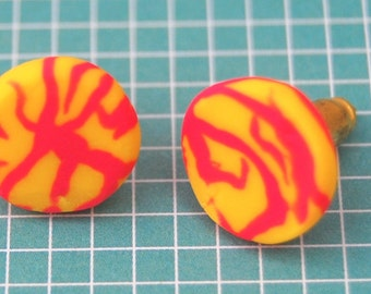 Bright Yellow & Pink Stud Earrings