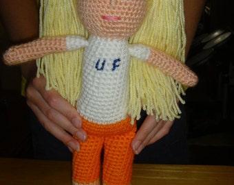 Crocheted Florida Gator Girl Doll