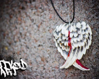 Handmade Clay Angel Wing Heart Necklace