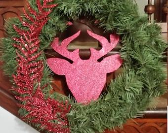 Red Silouhette Deer Wreath
