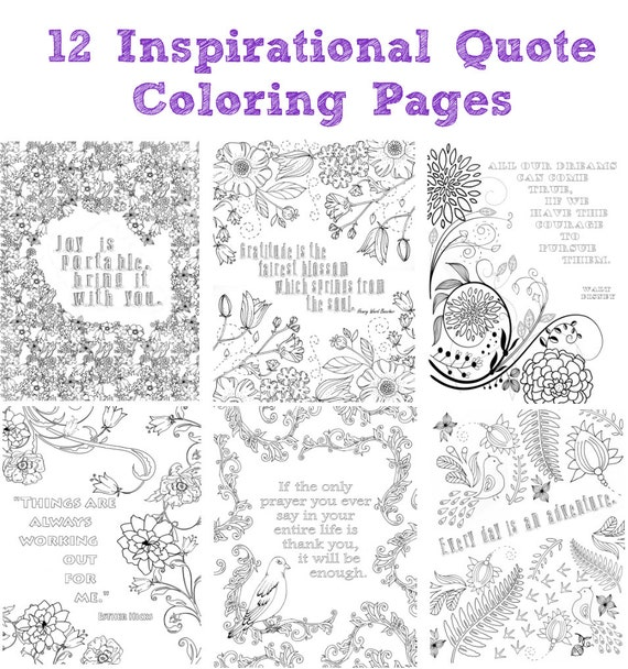 12 Inspirational Quote Coloring Pages For Adults