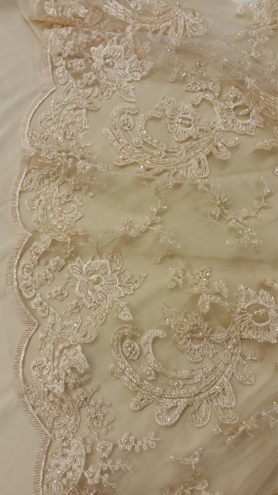 Beige lace fabric by the piece french lace embroidered lace for French lace fabric for wedding dresses