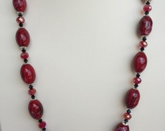 Red and Black Glass Beaded Necklace