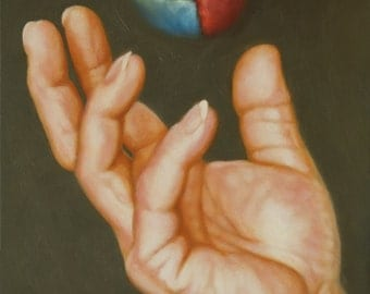 Original oil painting, painting of a hand, still life, figurative, wall art, 5 x 7 inches