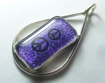 Purple PEACE SIGN Dichroic Glass Sterling Silver Pendant Necklace by SmithSilver