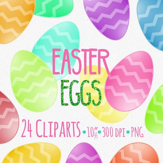 24 Easter Eggs, Easter Egg Clipart, Commercial Use