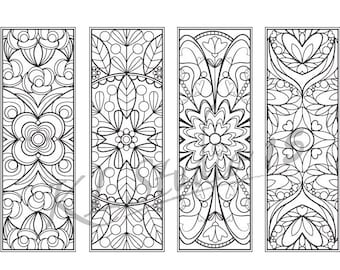 Mandala Coloring Bookmarks Instant Download Relax Designs To Color For Adults Print