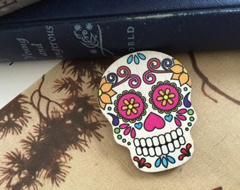 day of the dead, sugar skull brooch, gift for her