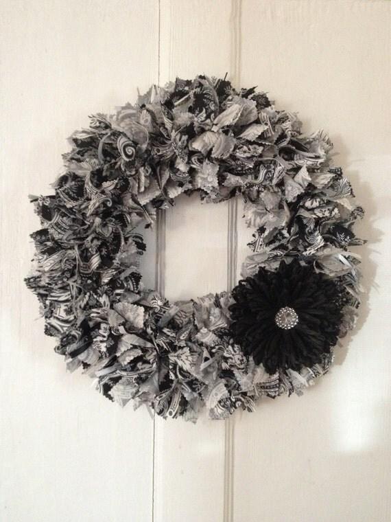 Black Gray White Damask Wreath Rag Wreath Front Door