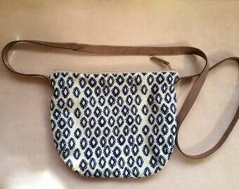 Cross body Bag - Cotton & Leather Strap
